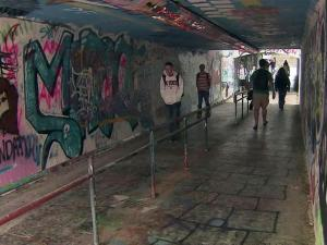 The graffiti-filled Free Expression Tunnel is a primary connector between two sections of the N.C. State University campus.