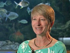 Liz Baird, director of school programs at the North Carolina Museum of Natural Sciences, tells students what it's like to be real deep-sea explorer. She was part of a team of scientists that explored underwater canyons off the East Coast last year.