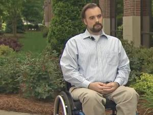 Jason Beyer is paralyzed from the waist down after an attack in his home in January.