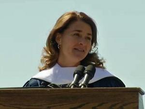 Melinda Gates addresses graduates at Duke University on Sunday, May 12, 2013.