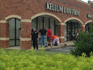 Police investigate a shooting at Kellum Law Firm in Greenville. (Photo courtesy WNCT)