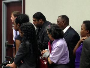 A group of people arrested in April during a protest at the Legislative Building appeared in a Wake County courtroom on June 24, 2013.