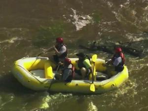 Water rescue crews were busy with distress calls Friday as people in kayaks, canoes and inner tubes hit area rivers for the holiday weekend.