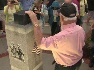 The Town of Apex dedicated a service memorial in the center of downtown Thursday that features a piece of steel beam recovered from the rubble of the World Trade Center.