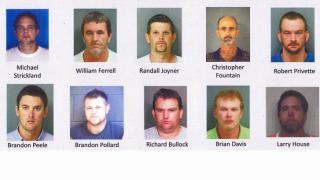 Mug shots of 10 suspects charged as part of Operation Nail It.