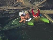 RAW: Kayaker trapped in Durham river