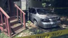 IMAGE: Car remains parked in Coats home after July wreck