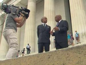U.S. Rep. John Lewis and Rev/ Al Sharpton share a moment  outside the U.S. Capitol.