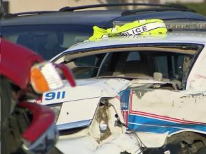 A police car was damaged after a multi-car collision at Fayetteville's Skibo and Morganton roads.