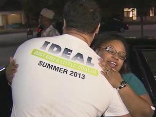 Cynthia Reid-Hope hugs the man who busted her back window and jumped into help when she had a seizure behind the wheel at a busy Raleigh intersection.