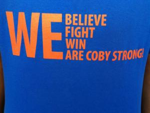 Students at Athens Drive High School are wearing these T-shirts in support of classmate Coby Weston, who is battling cancer.