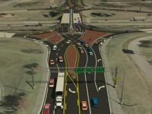 This image shows a Diverging Diamond Interchange in Springfield, Mo. Photo courtesy of the Missiouri Department of Transportion.