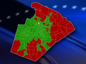 With all precincts reporting, this map shows how Wake County voted for the school bond on Oct. 8, 2013. Green shows precincts voting in FAVOR of the bond; red shows those voting AGAINST. The precinct marked in yellow was too close to call.