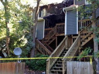 Fire damaged three townhomes Friday in Cary.