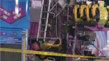 Caution tape was placed around a ride at the State Fair after a worker was injured early Monday.