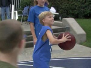 Sick children get fresh air and respite at Coach K Court at Duke Childrens Hospital.