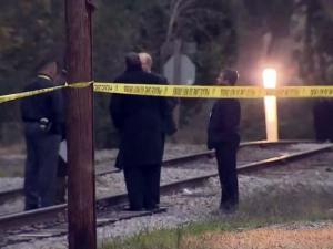 Fayetteville police collect evidence from near a rail line south of downtown where human remains were found on Nov. 12, 2013.