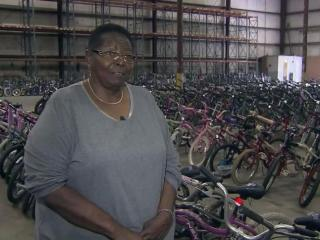 """Ann Mathis says she plans to continue the annual tradition of giving away refurbished bikes established by her late husband Moses """"Bicycle Man"""" Mathis as long as possible."""