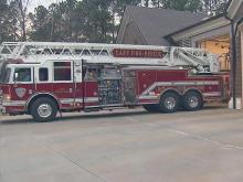 A firetruck outside of Station 1 in Cary