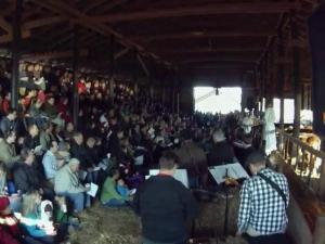 Hundreds of people gathered in a barn in northwest Raleigh on Dec. 24, 2013, for the Christmas Eve services of All Saints United Methodist Church.
