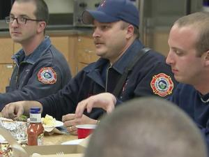 Firefighters in Morrisville were on a 24-hour shift during Christmas, so they sat down together for a family meal.