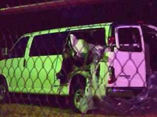 Several members of an honor guard from Fort Bragg heading to a military funeral near Charlotte were critically injured in this van Friday morning, Jan. 3, 2014, in a collision with a log truck near Laurinburg, authorities said.