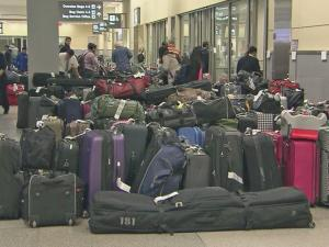 Cold-weather cancellations left hundreds of pieces of luggage stuck at Raleigh-Durham International Airport.