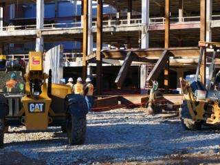 Three people were injured Wednesday afternoon inside a construction area at the Talley Student Center on the Raleigh campus of North Carolina State University. (Zac Gooch/WRAL)