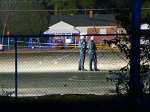 Four people were shot behind Word Tabernacle Church on Edwards Street in Rocky Mount Monday evening, police said. (Zac Gooch/WRAL)