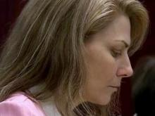 Amanda Hayes sits in a Wake County courtroom Jan. 28, 2014, during a break in her first-degree murder trial in the death of Laura Ackerson.