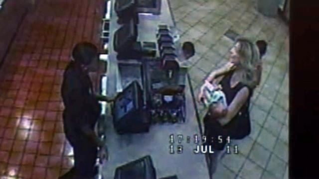 Security video played in the first-degree murder trial of Amanda Hayes on Feb. 4, 2014, shows Hayes, her 1-month-old daughter and Laura Ackerson's two young sons at a Chick-fil-A on July 13, 2011, hours after Wake County prosecutors say Ackerson was killed in Hayes' Raleigh apartment.