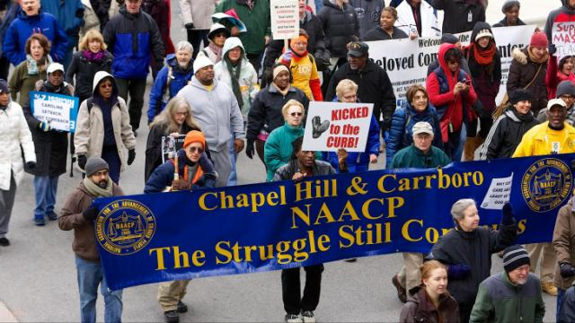 Thousands gathered for the 8th annual NC NAACP HKonJ March in downtown Raleigh on Saturday. (WRAL/Stan Chambers Jr.)