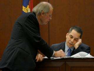 Defense attorney Johnny Gaskins questions Raleigh Police Homicide Detective Jerry Faulk on Feb. 10, 2014, in the first-degree murder trial of Amanda Hayes. (Chad Flowers/WRAL)