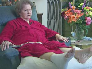 Tempie Lou Johnson, 89, was recovering at home after falling and spending the night outside.