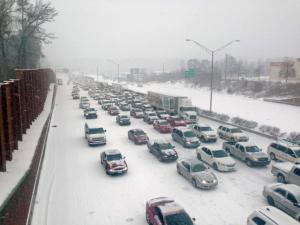 Traffic comes to a halt on Interstate 85 in Durham on Wednesday, Feb. 12, 2014.