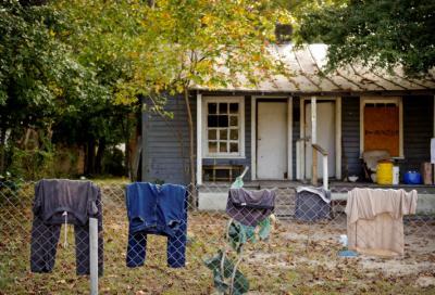 A rundown home on Fayetteville's Progress Street.