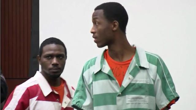 Jahaad Marshall, left, and Shabar Marshall appear in a Wake County courtroom for an arraignment March 3, 2014.