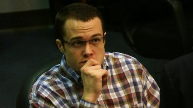 Jonathan Richardson waits during his first-degree murder trial on March 12, 2014.