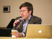 Ryan Thornburg, founder of Open N.C. and professor at UNC School of Journalism, speaks at a Sunshine Day event at Elon University on March 17, 2014.