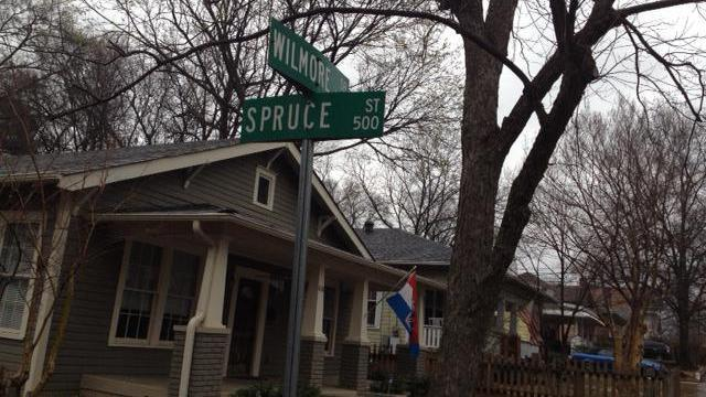 Spruce and Wilmore streets in Charlotte, where homeowner Missy Eppes used to watch drug dealers at the corner from her front porch. Photo by Greg Barnes of The Fayetteville Observer.