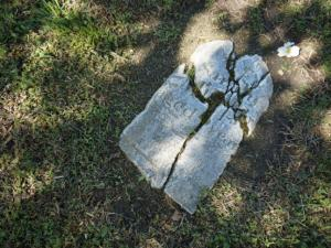 Crumbling head stones lie in City Cemetery after a tornado hit downtown Raleigh in April 2011.