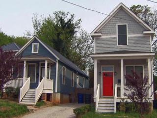 At left, an original, renovated home. At right, a new home in a similar style.