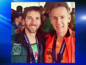 Smithfield resident Roger Wood ran the Boston Marathon with his son, Jonathan, on April 21, 2014.