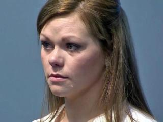 Lyndsey Smith cries in court on May 2, 2014, after pleading guilty to aiding her boyfriend after he shot a trooper in February 2013.