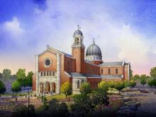 Artist's sketch of the planned Holy Name of Jesus Cathedral in Raleigh.