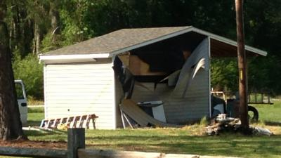 Two people were injured early May 11, 2014, during an explosion in this shed, at 8337 Elliott Bridge Road in Spring Lake.