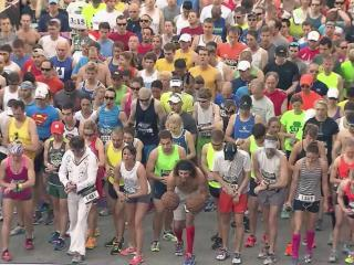 Runners take off at the start of the Rock 'n' Roll Marathon in Raleigh in April, 2014.