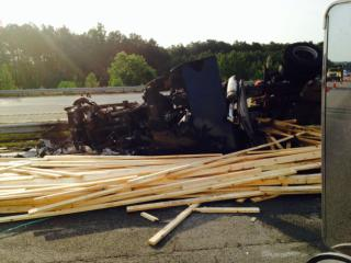 A viewer submitted this image of the burned cab of a truck involved in a crash on Interstate 95 South in Roanoke Rapids.