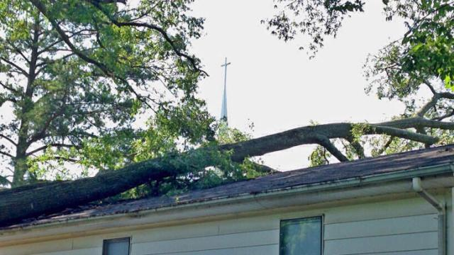 Employees of Greater Life Ministry in Wake County arrived Tuesday morning to find that a tree branch had fallen on their roof overnight.