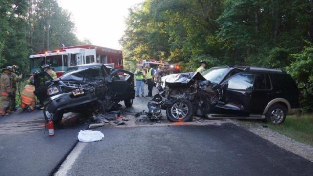 One person was killed and another hospitalized Tuesday afternoon after a Ford Ranger and a Ford Explorer were involved in a head-on collision on N.C. Highway 24/27 near the Moore-Harnett County line Tuesday evening. (Frank Staples/WRAL Contributor)